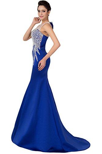 Gorgeous Bride Beliebt Meerjungfrau Satin Tuell Lang Abendkleid Ballkleider Brautkleider Royalblau