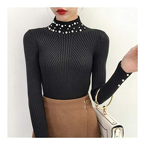 UZZHANG Winter-Frauen-Perlen-wulstiger O-Ansatz Strickpullover Langarm Rollkragen Pullover Schlank (Farbe : Schwarz, Size : Einheitsgröße)