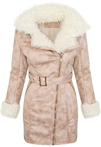 Designer Damen Wintermantel Wildlederoptik Mantel Pilotenjacke warm D-372 [A22 Rosa XL]