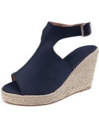 49ca948a2228d7 Sandalen Damen Espadrilles Keilabsatz Wedges Schuhe Mit Absatz Sandaletten  Strandschuhe…