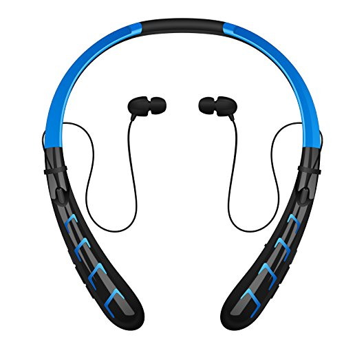 Bluetooth Headphones / Headset Rymemo 2016 Newest 20 Hrs Continuous Playing Time Wireless Music Stereo Sports/running Earphones Vibration Neckband Style for Cellphone (Blue-Black)