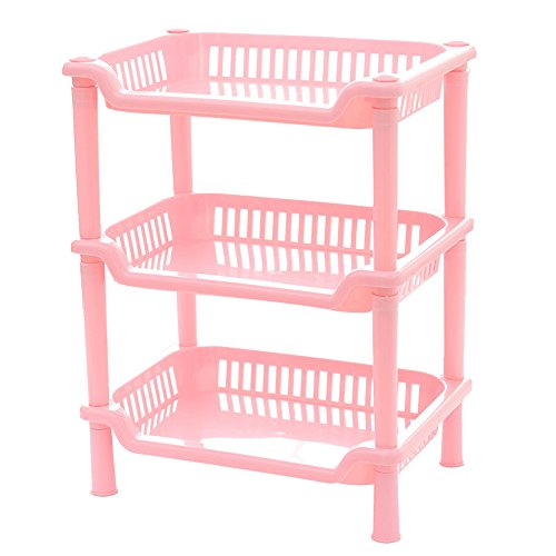 teerfu Eckregal Badezimmer, Dusche Caddy rostfrei Regal Küche Badezimmerschrank, plastik, Rectangle-3Tier-Pink, 9.6*7.1*13.0inch
