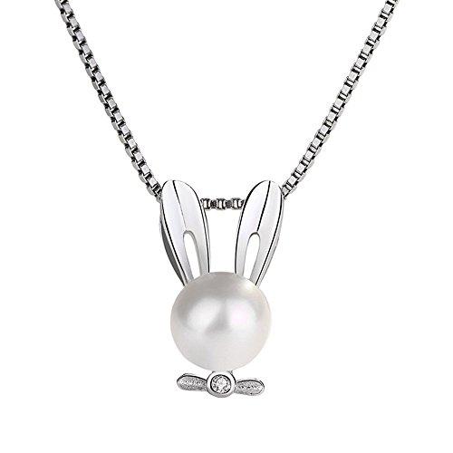 QIN-necklace Collar de Cadena de clavícula de Plata de Ley Animal Story Series Conejito Collar de Perlas Mujer Simple Moda de 40 cm + 5 cm