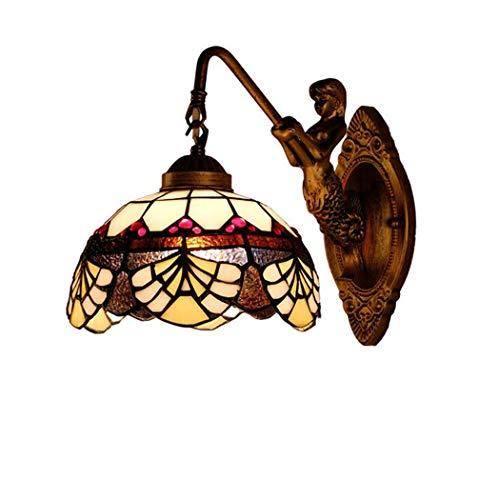 Vintage kreative Glasmalerei Wandleuchte, Tiffany Stil Wand Lampe Leuchten für Schlafzimmer Nacht Korridor, E27, 110-240V,B -