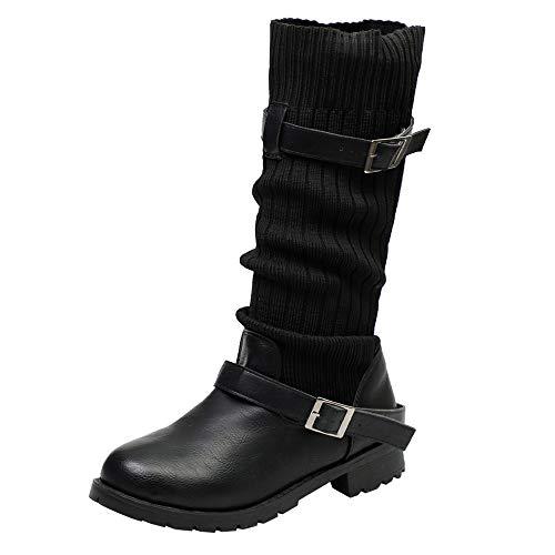 Yvelands Damen Stiefel, halten warme Schuhe er Booties Schnalle Stiefel Runde Toe Schuhe Stiefel Stiefeletten(36.5,Schwarz)