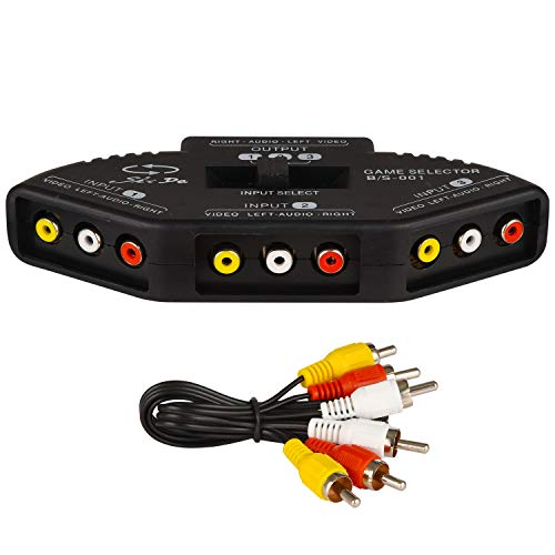 Rybozen AV Cinch Video/Audio Switch Splitter, 3-Input 1-Output Anschlüssen für Anschließen von 3 Cinch-Signalgeräten an 1 Monitor