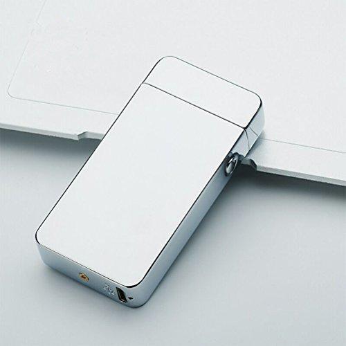 UEETEK Winddicht USB aufladbare Metall Bogen Feuerzeug flammenlose elektronische Arc Feuerzeug doppelten Bogen Puls Zigarette Silver Ice