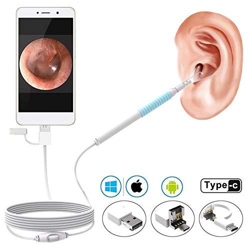 Endoscopio para oreja otoscopio visual herramienta de limpieza 2 millones de tres en una oreja visual, tímpano, cámara de alta definición, earpick, teléfono android tyep-c