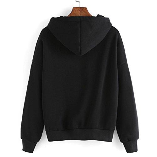 Sweats à capuche,Jimma® Sweat à Capuche Femme Imprimé Ananas Pull Capuche Sweatshirt Noir Noir