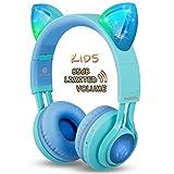Riwbox CT-7S Kinder-Kopfhörer, 85 dB, Lautstärkeregler, Bluetooth-Kopfhörer, Gehörschutz, LED-Beleuchtung, kabellose Kopfhörer mit Mikrofon für iPhone/iPad/Kindle/Laptop/PC/TV Blue&Green