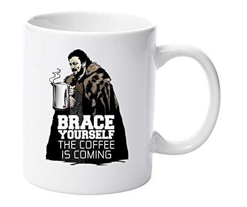 Brace yourself the coffee is coming ned stark game of thrones 11oz ceramic mug gift by LBS4ALL