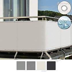 Sol Royal SolVision Brise Vue pour Balcon PB2 PES en Polyester 500x90 cm Blanc avec Oeillets et Cordons