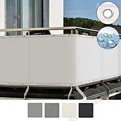Sol Royal Balcony Privacy Screen 90x500 cm SolVision PB2 Sun Wind UV Protection White Screening with Eyelets & Cord