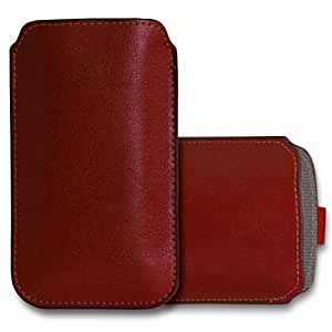GBOS SONY XPERIA Z Leather Pull Tab Case Cover Pouch With Touch Stylus pen Brown