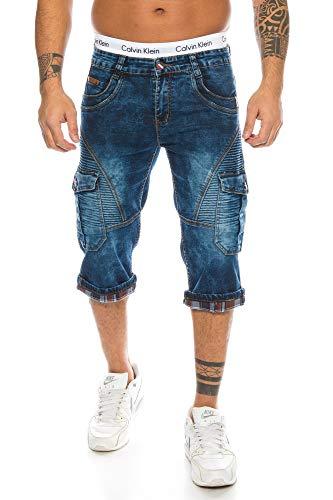 Herren Cargo Shorts Jeans Shorts Biker Style Bleached Shorts Denim Bermuda Capri (TA 320, 29) - Bleached Denim