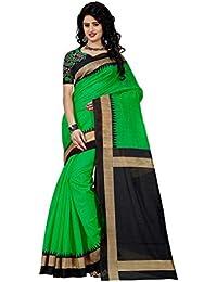Rensila Women's Cotton Silk Saree With Blouse Piece (RFNew_LUCKY GREEN Saree_Green)