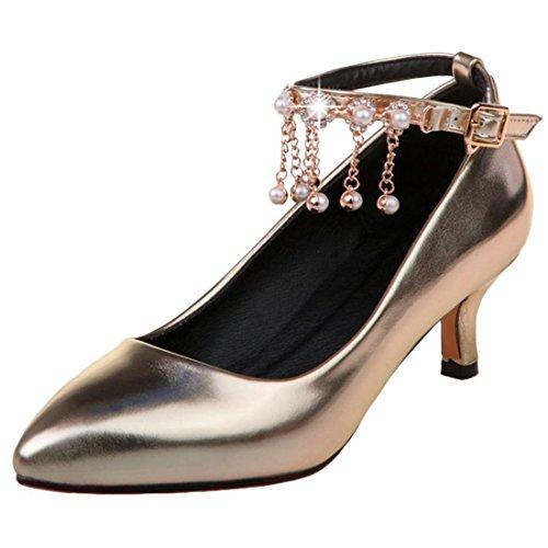 Artfaerie Damen Kitten Heels Riemchen Pumps mit Perlen und Schnalle Spitze Elegant Hochzeit Braut Schuhe (1/2 Ankle Strap)