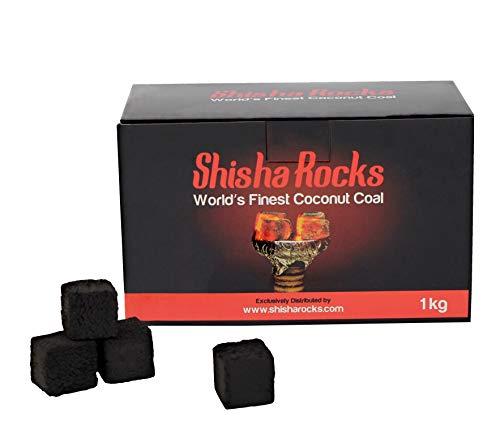 100% Natürliche Stoffe (Premium Shisha Hookah Kohle. Natürliche Kokosnuss Kohle von Shisha Rocks (1 KG - 112 Würfel). 90 Minuten Brenndauer, 100% aus natürlichen Stoffen hergestellt.)