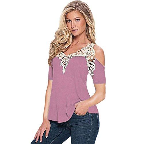 Manadlian T-Shirt Femmes,ManadlianFemme Sexy Shirt Floral en Dentelle Épaule Nue Top Blouse Manches Longues Slim Shirt Violet