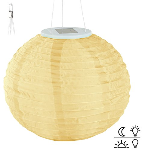 Lunartec Solar Laternen Lampions: Solar-LED-Lampion, Dämmerungs-Sensor, IP44, warmweiß – 3er-Set - 5