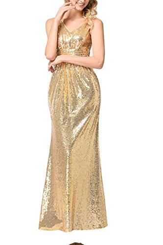 WIWIQS Damen Paillette Abendkleid Sleeveless Maxi Abend Abendkleider Klein Farbe 3