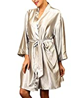 Dolamen Unisex Women's Men's Dressing Kimono Gown, Luxurious Silk Satin Short Robe Bathrobe Bridesmaid Wedding Nightwear Pyjamas Sleepwear, Bust 132cm, 51.97 inch, Large Size for Everyone (Silver)