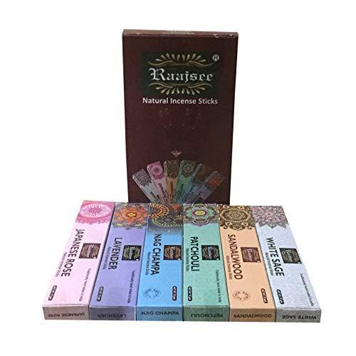 Raajsee Lavendel-Räucherstäbchen,100 g Packung,100% natürlich, handgerollt, frei von Chemikalien, perfekt für Kirche, Aromatherapie, Entspannung,Meditation,Positivität und sinnliche Therapie