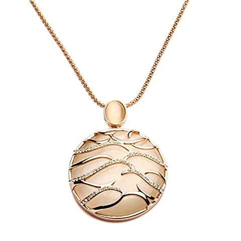 Genuine Rose Jewellery 18k Real Rose Gold Plated Round Circle Opal Mother Of Pearl Pendant Necklace With SWAROVSKI ELEMENTS