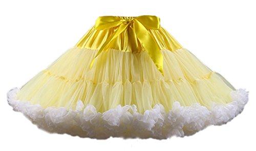 Honeystore Tanzkleid Ballettrock Kinder Mädchen Damen Tutu Rock Schleife Pettiskirt für Show Party Cosplay Gelb und Weiß