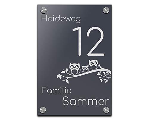 Edles Türschild | Hausnummer 20x30 cm mit Gravur mit über 80 Motiven Familien-Haus Familienschild Türschilder für die Haustür mit Namen