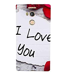 For Gionee Elife E8 i love you ( i love you, good quotes, white paper ) Printed Designer Back Case Cover By TAKKLOO