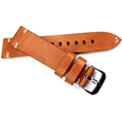 20mm Light Brown Leather Band White Stitching 20/18mm strap with quality Strap RIOS Military Naval Band Top Quality