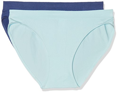 UNNO Womens Sin Costuras Pack X2 Dim Basic Brief, Blue Poudre/Azul Fonce 5W0