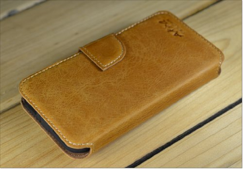 Original Akira Hand Made [Echt Leder] Handyhülle Apple iPhone SE / 5 / 5S Cover Handgemacht Case Schutzhülle Etui Flip Wallet Pen [DEUTSCHER FACHHANDEL] Braun Wallet Braun