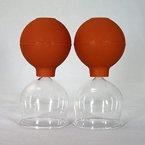 Schröpfgläser Schröpfglas 2 Stück im Set 55mm mit Saugball zum feuerlosen Schröpfen -