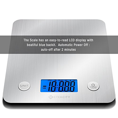 Etekcity Digital Kitchen Food Scale, Electronic Stainless Steel Weighing Cooking Scales with 30% Larger Platform & Backlight Display, 11lb/5kg, Ultra Slim Design, Silver