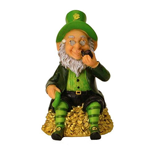 Preisvergleich Produktbild Irischer Kobold auf Goldhaufen Spardose - Irischer Kobold Sparbüchse Leprechaun Sparschwein Glück