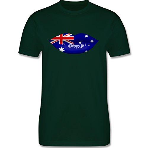 Länder - Lippen Bodypaint Australien - Herren Premium T-Shirt Dunkelgrün