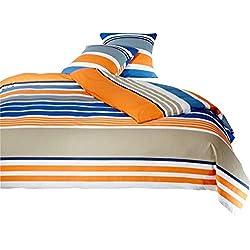 Mistral Home Perkal Bettwäsche Streifen Orange Blau Ägyptische Baumwolle, Größe:135x200cm Bettwäsche
