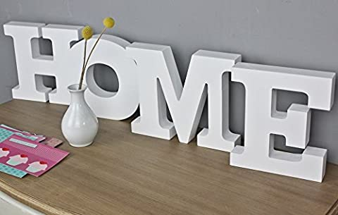elbmöbel Deko Schriftzug HOME Buchstaben shabby chic Holz weiß Schild Schrift (Home)