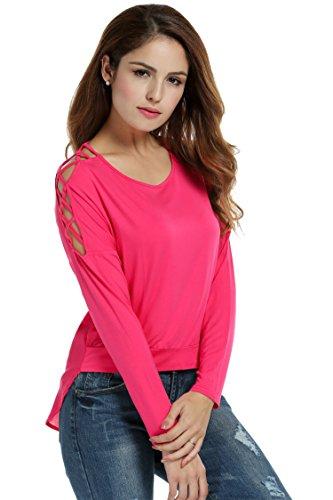 Meaneor Damen Bluse Casual Langarmshirt Oberteil Mit Schnürung Kreuz Asymetrisch Shirt Rosa