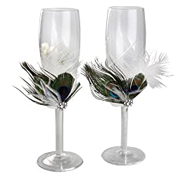 Ivy Lane Design Peacock Collection Crystal Toasting Flutes, White, Set of 2
