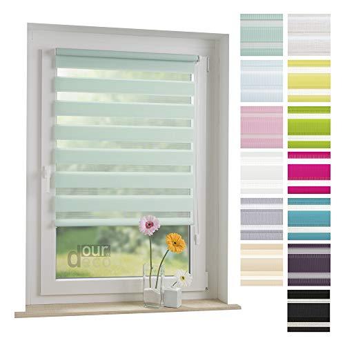 ourdeco® Doppel-Rollo, Duo-Rollo / 90 x 160 cm pastellgrün/lichtdurchlässig, Blickdicht/Klemmen=Montage ohne Bohren=Smartfix=Klemmfix=Easy-to-fix