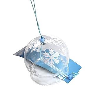 Japanisches Windspiel/ Windglocken, Motiv: Schneeflocke, handgefertigt, Geschenk aus Glas für Geburtstag und Valentinstag, Deko für Zuhause, Küche, Wellness-Einrichtung, Garten, Fenster