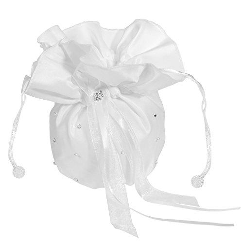ULTNICE Hochzeit Satin Dolly Tasche Brauttasche Handtasche Brautbeutel mit Perlen (Perle Weiche, Weiße)