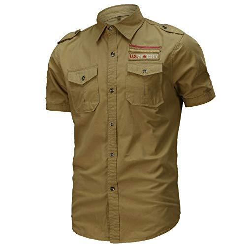 Militär-khaki-hemden (JINSHI Herrenhemd Körperbetont Arbeitshemd Militär Hemd Halbarm Kurzarmhemd Bügelfrei Khaki-Gelb XL)