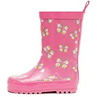 Outee Girls Kids Toddler Wellies Wellingtons Rain Boots Waterproof Rubber Shoes Butterfly Pink Print Rear Puller Cute Design (Size 7)