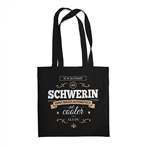 Fashionalarm Stoffbeutel - Ich komme aus Schwerin - bin viel cooler als du | Beutel Baumwolltasche mit Spruch als Geschenk Idee für stolze Schweriner, Farbe:schwarz