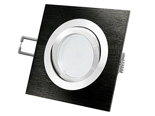 LED Einbau-Strahler QF-2 schwenkbar, Decken-Einbau-Leuchte Aluminum schwarz eloxiert gebürstet, 5W SMD LEDs warm-weiß 230V [IHRE VORTEILE: einfacher EINBAU, hervorragende LEUCHTKRAFT, LICHTQUALITÄT und VERARBEITUNG] (Gebürstet, Chrom Zentrum)