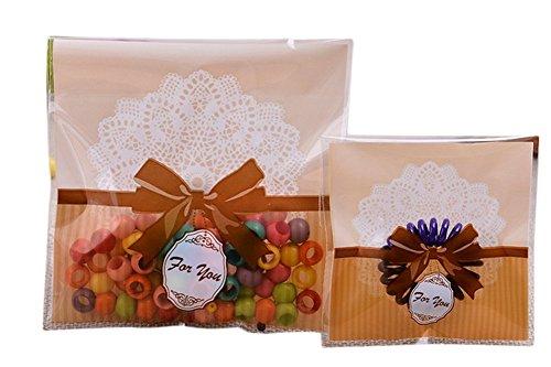 100x Chytaii Sachet Sac Pochette de Biscuits Bonbons Gâteaux Pâtisseries Emballage en Plastique Transparent avec Cordon Auto-Adhésif